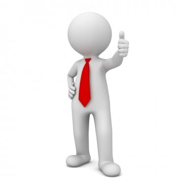 3d business man showing thumbs up like isolated over white