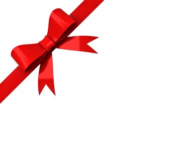 Red ribbon bow isolated on corner white