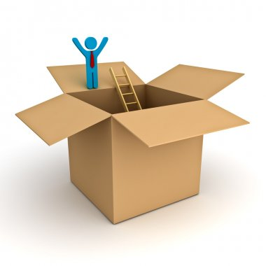 Think outside the box concept, 3d business man standing with arms wide open on top of the opened cardboard box over white