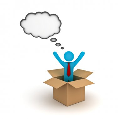 Think outside the box concept, Business man standing with arms wide open in the open cardboard box with thought bubble above his head over white