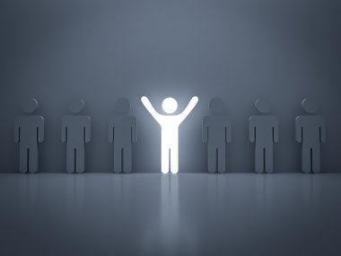 Stand out from the crowd and different concept , Light man standing with other people
