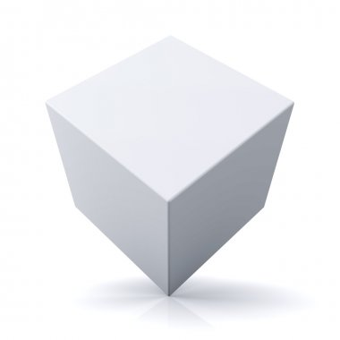 3d cube or box on white background