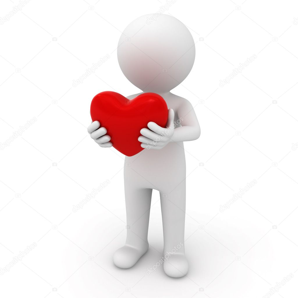 3d man standing and holding red heart over white