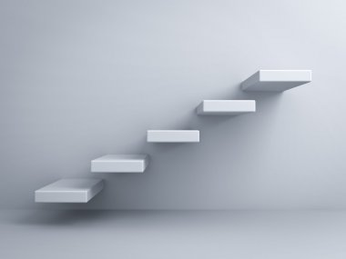 Abstract stairs or steps concept on white wall