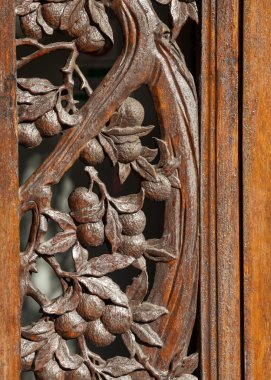 Decorative Carved Rosewood Doorway Frame Showing Lychee Tree
