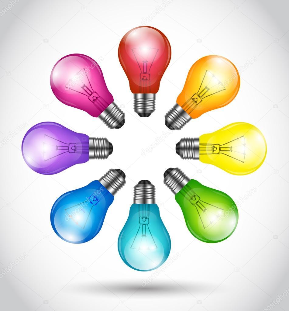 Colorful background creative idea light bulbs