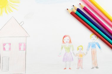 Child's picture painted on a white sheet of paper with colored pencils