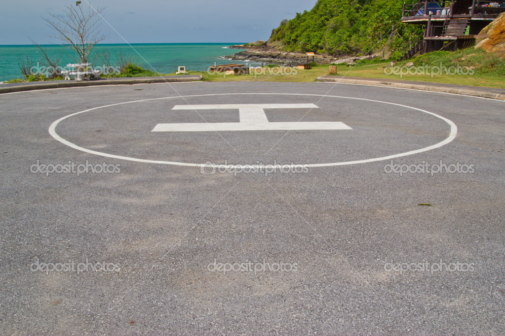 Heliport for helicopter in the park