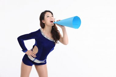 Asian cheerleader posing with a megaphone