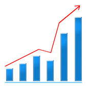 Growing blue bar chart and red rising arrow