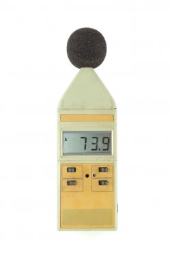 old sound level meter on white
