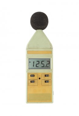 old sound level meter (display show high level) on white
