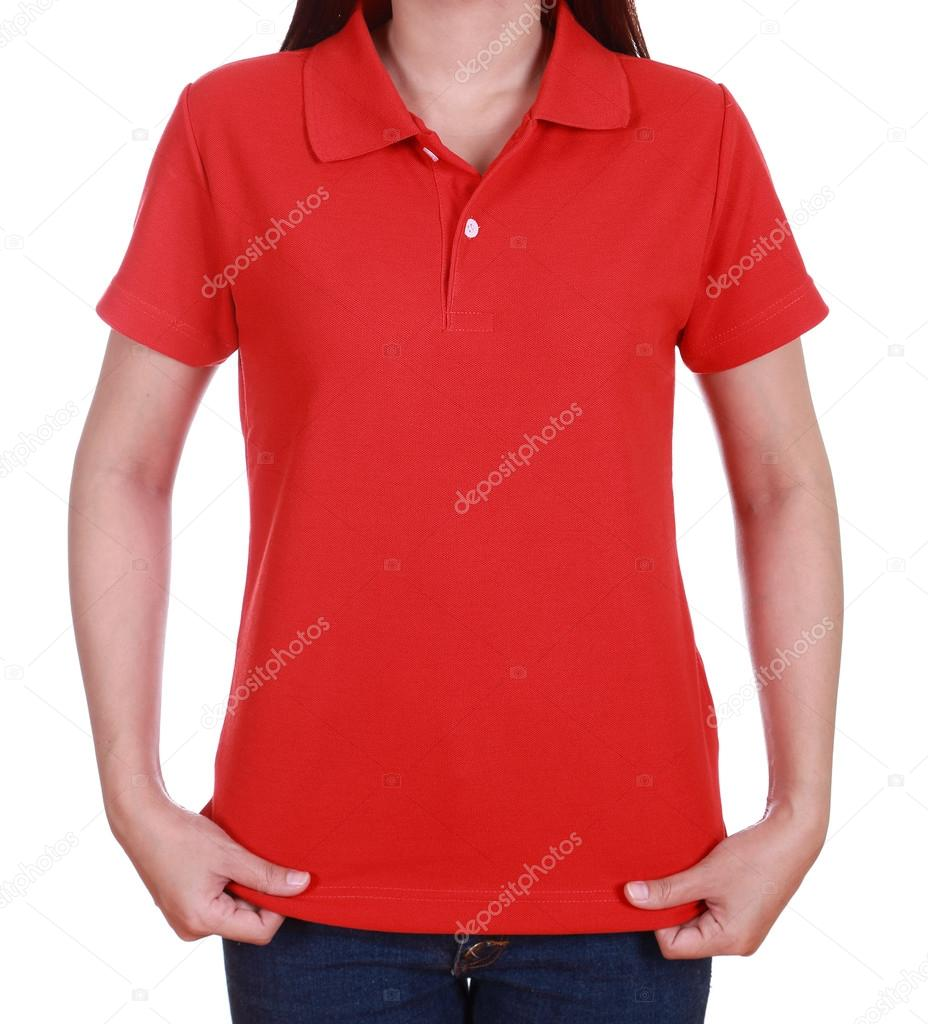 blank red polo shirt on woman