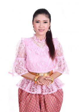 woman wearing typical thai dress, identity culture of thailand