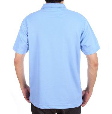 blank polo shirt (back side) on man