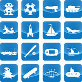 Toys for boy icon on blue button