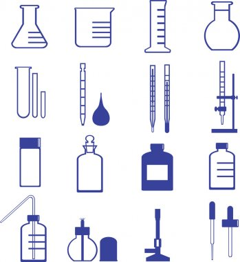 Chemistry glassware and tools icon