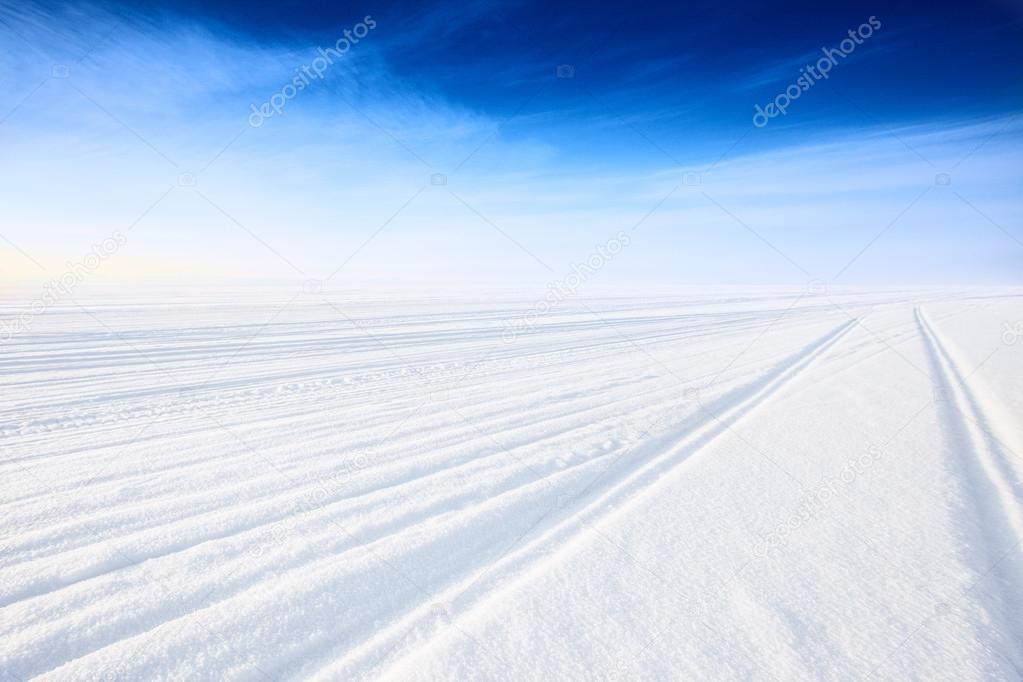 Winter road on ice