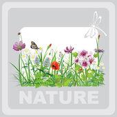 Zöld fű és a virágok, a táj természeti, banner-vektor art