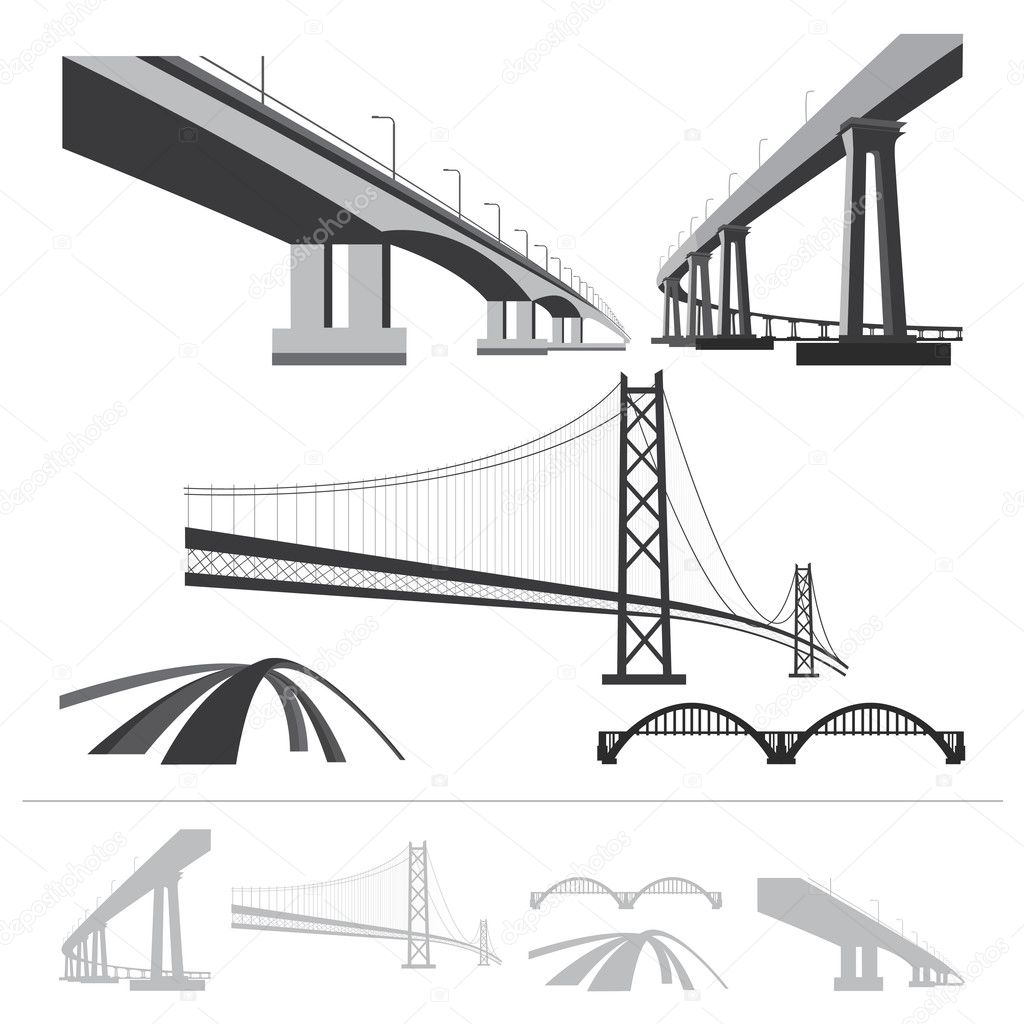 set of bridges, vector silhouette collection isolated on white b