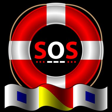 SOS symbol with lifebelt