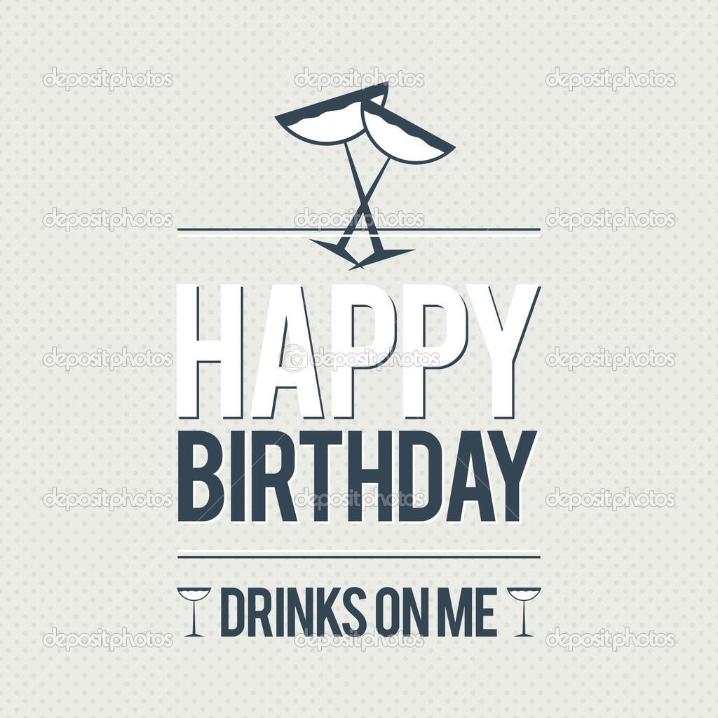 Alles Gute Zum Geburtstag Kostenlose Getränke Stockvektor
