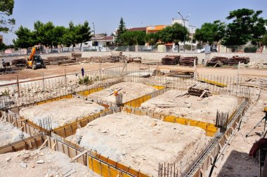 Construction site - Execution of the foundations of a building