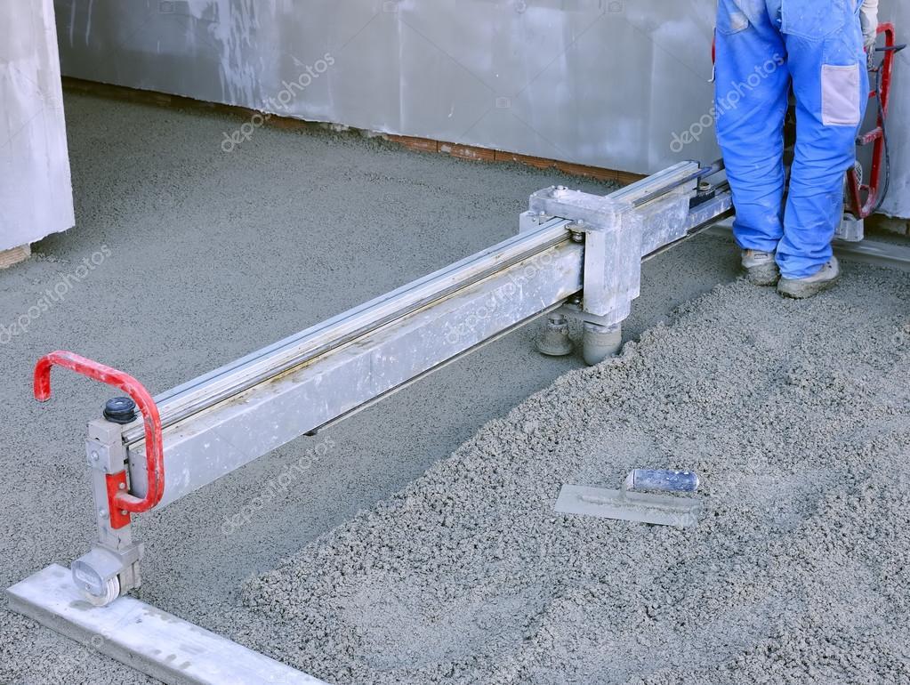 Baustelle Maschine Lauft Estrich Bodenbelag Stockfoto