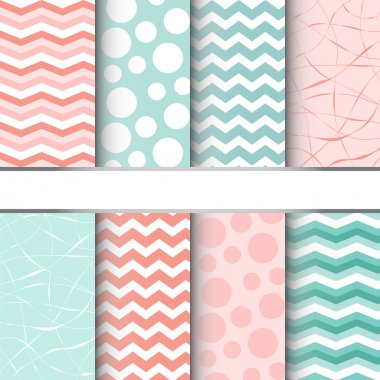 Set of blue pastel and pink jumbo polka dots, gingham and chevron seamless patterns. Vector background clip art vector