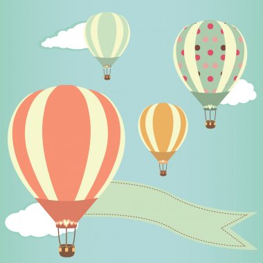 Hot air balloons in the sky. Vector illustration. Greeting card background clip art vector