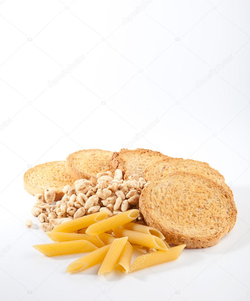Bread, pasta & cereals isolated on the white background