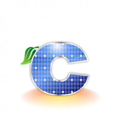 Solar panels texture, alphabet lowercase letter c icon or symbol