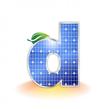 Solar panels texture, alphabet lowercase letter d icon or symbol
