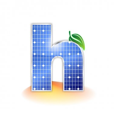 Solar panels texture, alphabet lowercase letter h icon or symbol