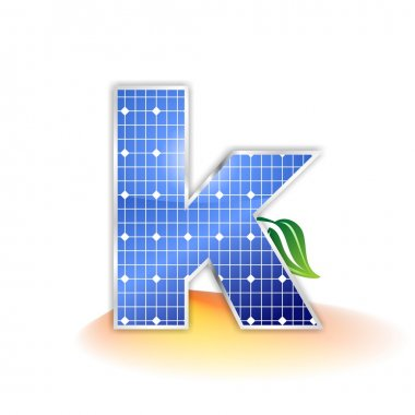 Solar panels texture, alphabet lowercase letter k icon or symbol
