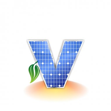 Solar panels texture, alphabet lowercase letter v icon or symbol