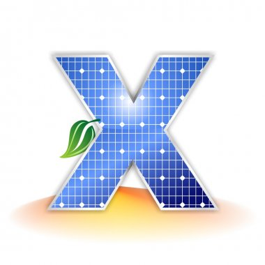 Solar panels texture, alphabet capital letter X icon or symbol