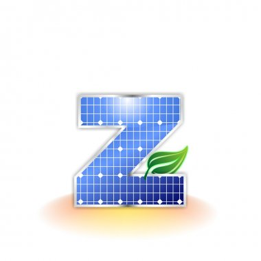 Solar panels texture, alphabet lowercase letter z icon or symbol