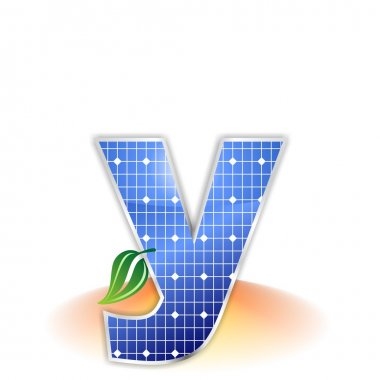 Solar panels texture, alphabet lowercase letter y icon or symbol