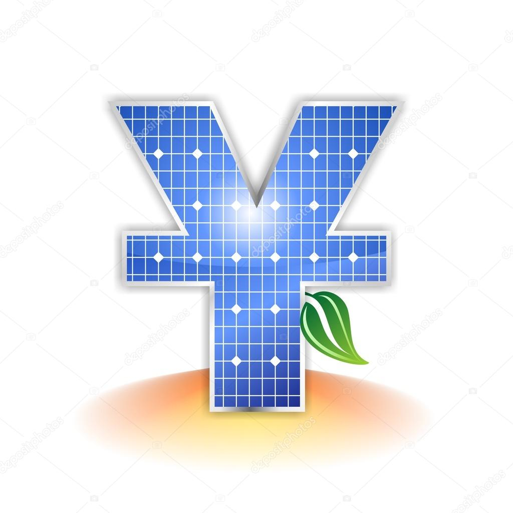 Solar panels texture chinese currency yuan icon or symbol stock chinese currency yuan icon symbol or logotype element created with a solar panel texture added a sunbeam shadow reflection and a green leave biocorpaavc Image collections