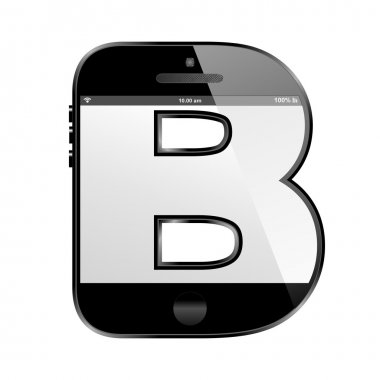 Smart phone shaped, alphabet design letter, B