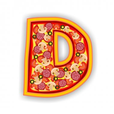 PIZZA alphabet - LETTER D