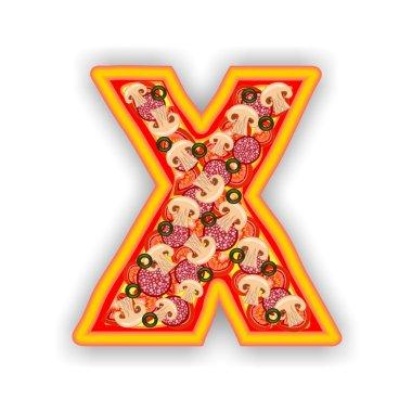 PIZZA alphabet - LETTER X