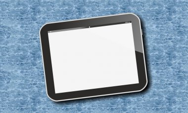 Tablet pc over swimming pool water pattern