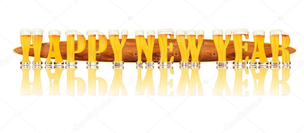 very detailed illustration of the words happy new year designed from a beer alphabet capital or uppercase font on white background showing filled crystal