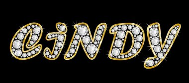 The name Cindy spelled in bling diamonds, with shiny, brilliant golden frame