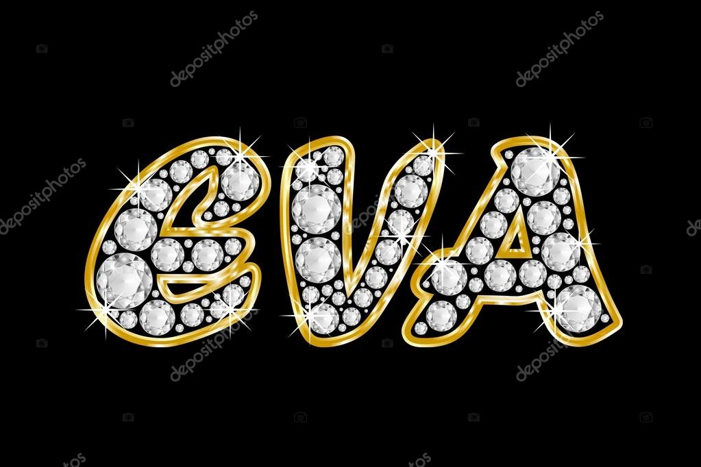 deletrea el nombre eva en diamantes de joyas, con marco dorado ...