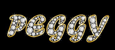 The name Peggy spelled in bling diamonds, with shiny, brilliant golden frame