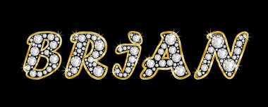 The name Brian spelled in bling diamonds, with shiny, brilliant golden frame