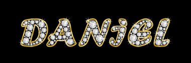 The name Daniel spelled in bling diamonds, with shiny, brilliant golden frame